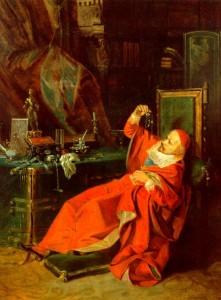 Kardinolas Julijus Mazarinis tarp savo tikrųjų lobių.